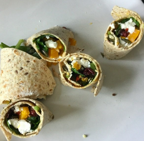 Food On The GO: Super-Power Wrap With Goji Berries, Pumpkin Seed And Goat Cheese