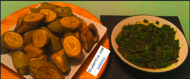 Steamed Green Vegetable Sauce: low calorie, served with boiled plantain